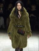 LFW Fall 2016 RTW | Burberry Vintage Brit Glam | Sage green fur coat