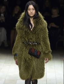 LFW Fall 2016 RTW | Burberry Vintage Brit Glam | Sage green fur coat
