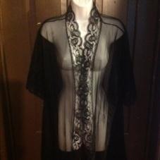 Black sheer peignoir