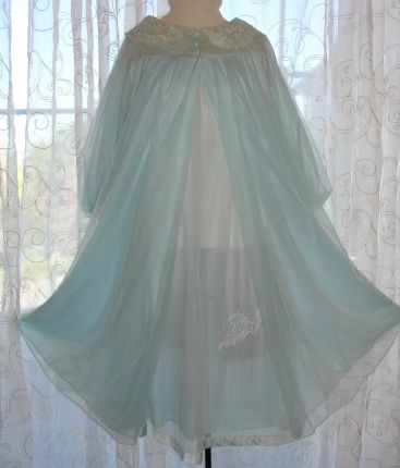 Blue Chiffon Gown Babydoll Nightgown Peignoir Vintage Gossard Artemis Sheer