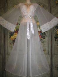 Chiffon Vintage Peignoir Dressing Gown Robe Lacy Bridal Lace Nylon Lingerie L LG