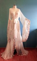 Image of Romantic Embroidered Lace Sheer Peignoir