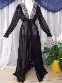 Vanity Fair Black Peignoir