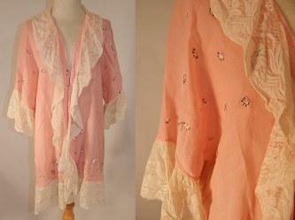 Vintage Pink Cotton Embroidered Daisies Lace Trim Flapper Peignoir