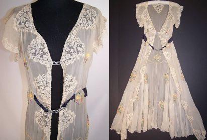 Vintage Silk Chiffon Lace Chain Stitch Embroidery Peignoir