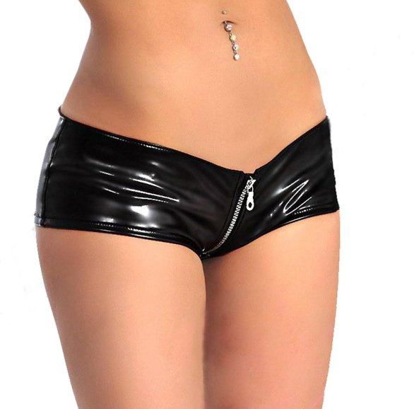 Zipper rubber black boyshorts