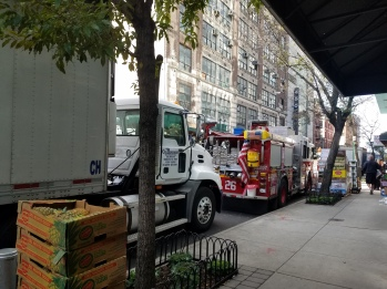 A Fire Truck comes grocery shopping.