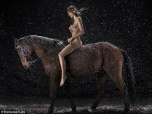 Calendar Horse riding trainer and model Kamila Szczawinska galloped through the snow