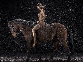 Calendar Horse riding trainer and model Kamila Szczawinska galloped through the snow