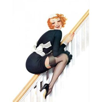 French Maid sliding on the bannister