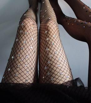 Lirika Matoshi Black Starry Net Fishnet Tights