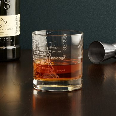 Uncommon Goods City Map Whiskey Glass $14
