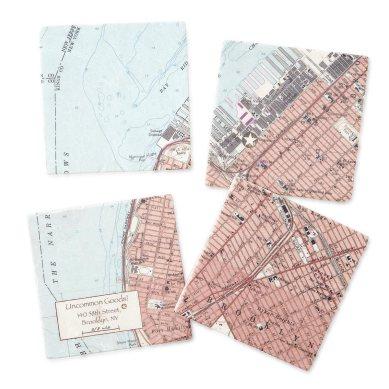 Uncommon Goods Custom Map Coaster Set $65