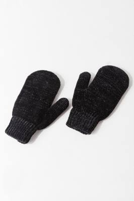 Urban Outfitters Black Chenille Mittens