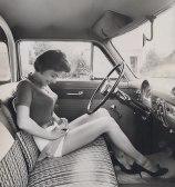 bullet-bra-fashion-vintage-car driving