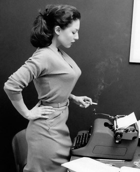 bullet-bra-fashion-vintage-typewriter and cigarette