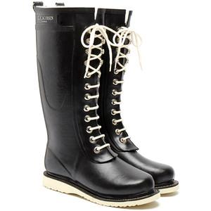 Ilse Jacobsen Black Rub 1 Tall Lace Up Wellington Boot