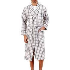 Nautica Men's Plaid Woven Robe - Oatmeal