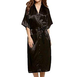 Zikong Womens Satin Robe Black