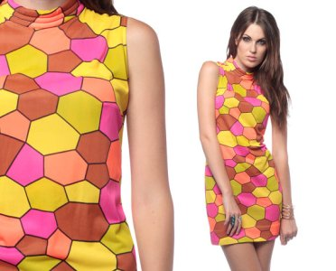 1960s Gogo Mini Dress Mod Geometric Print 60s Shift