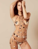 Agent Provocatuer Adora Playsuit Silver And Rose Gold $3395