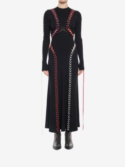 Alexander McQueen Boucle knit long dress with leather and lacing 2