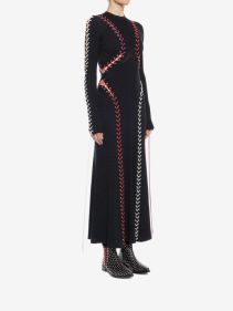 Alexander McQueen Boucle knit long dress with leather and lacing 3