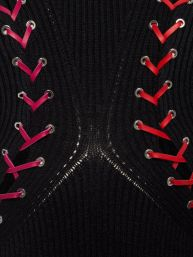 Alexander McQueen Boucle knit long dress with leather and lacing close up 5K