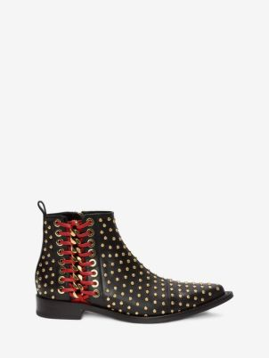 Alexander McQueen Braided Chain Ankle Boots $1680