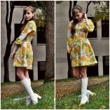 Fiona Isabelle - Street Scene Vintage Flower Mini Dress, Go Go Boots