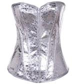 Leather Overbust Corset Half Sequins Full Sequins Waist Cincher Silver Women's Underwear Waist Training Corset