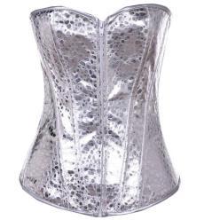 Leather Overbust Corset Half Sequins Full Sequins Waist Cincher Silver Women's Underwear Waist Training Corset
