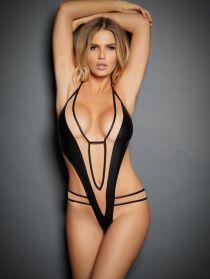 Nicolette V Leather & Mesh Playsuit