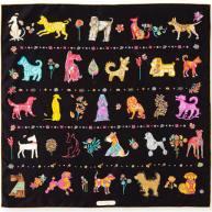 Salvatore Ferragamo Chinese Zodiac 2018 Year of the Dog Silk Scarf, 70cm, Black, Women's