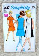 Simplicity 7587 Vintage Sewing Pattern Mod dress color block drop waist gogo mini dress A line