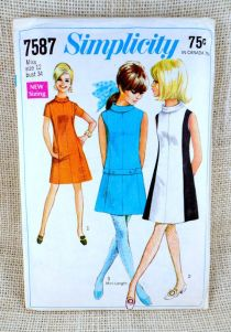 Simplicity 7587 Vintage Sewing Pattern Mod dress color block drop waist gogo mini dress A line