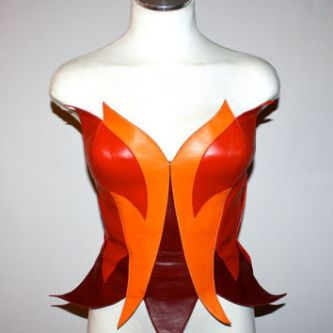 Thierry Mugler flame leather corset deadstock