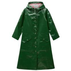 Alexa Chung Hooded Raincoat Green shiny
