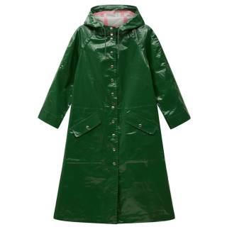 Alexa Chung Hooded Raincoat Green shiny
