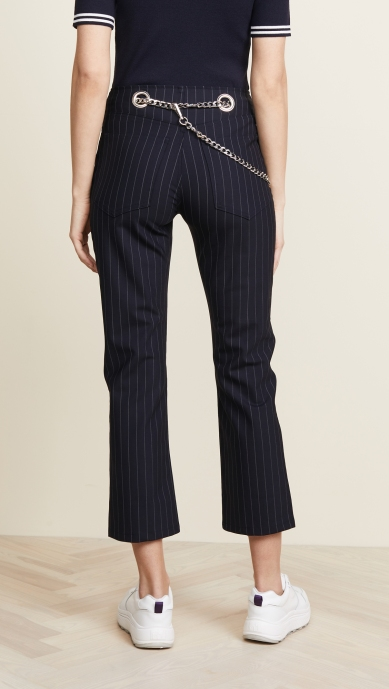 Miaou Chained Pinstriped pants cropped back
