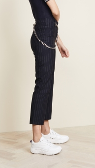 Miaou Chained Pinstriped pants cropped side