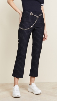 Miaou Chained Pinstriped pants cropped
