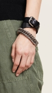 Alexander Wang Wide Leather Chain Double Wrap Bracelet $395
