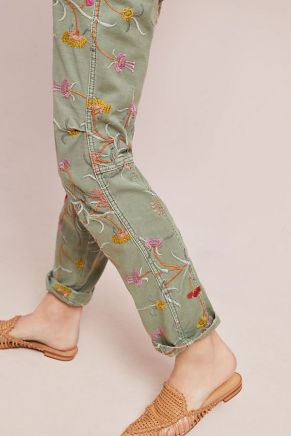 Anthropologie Floral Wanderer Embroidered Utility Pant