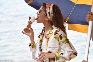 Dolce and Gabbana Zendaya Ice Cream pattern photo shoot