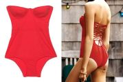 Zimmerman red lace up Corset Swim