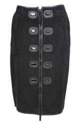Jean Paul Gaultier suede skirt with twist locks Decades 2