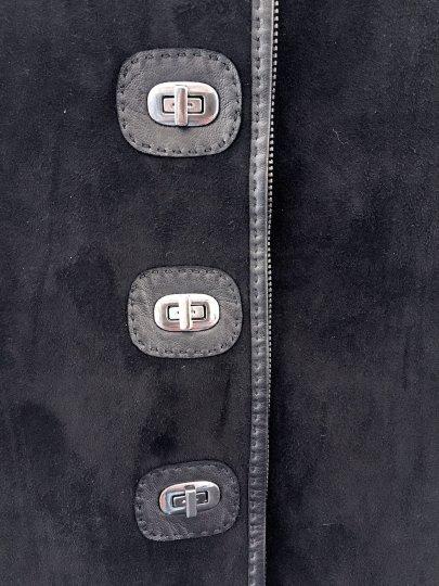 Jean Paul Gaultier suede skirt with twist locks Decades close up locked