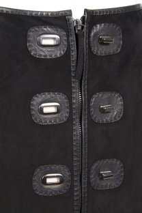 Jean Paul Gaultier suede skirt with twist locks Decades close up