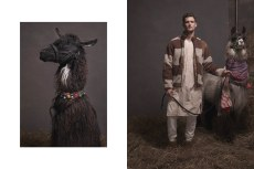 llamas-pajamas-Garrett Neff is a fearless wonder in fleece, thermal, and borrowed-from-HER-closet vintage nightgown. Zeus, in layered scarves, displays similar elegant audacity.